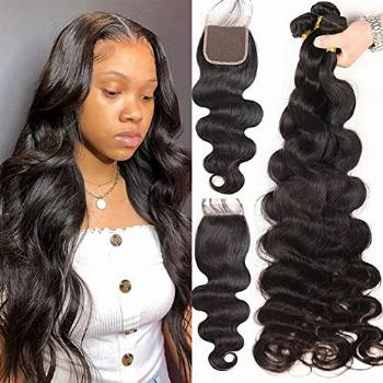 24 26 28 30 with 20 Closure Long Silky Body Wave 4 Bundles