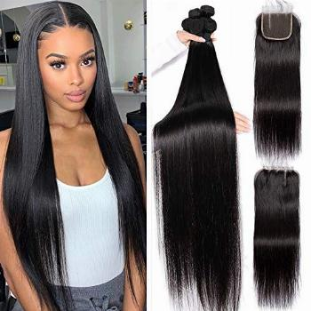 26 28 30 with 20 Closure Long Silky Straight 3 Bundles With
