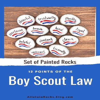 Boy Scouts Law Set of 12 Painted Stones, Court of Honor Gift, Twelve Points, Eagle Ceremony, Eagle