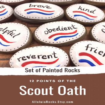 Boy Scouts Law Set of 12 Painted Stones This set of 12 painted rocks features the 12 Points of the