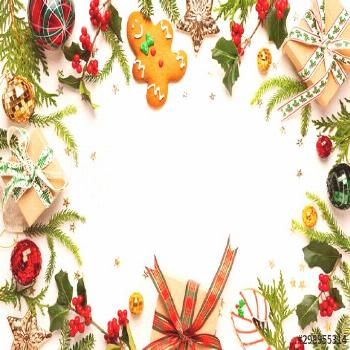 Christmas background with gingerbread cookies, gift boxes and branches of holly with red berries on