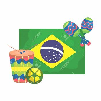 drum and icons with flag brazil isolated icon vector illustration design ,