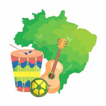 drum and icons with map of brazil vector illustration design ,