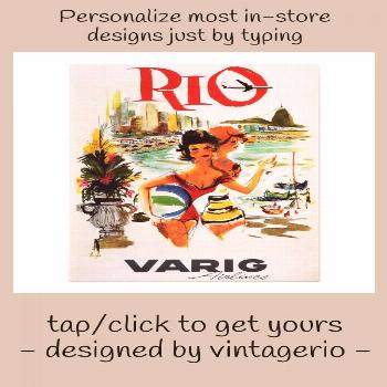 Fly to RIO BRAZIL Varig Airlines Vintage Travel Poster