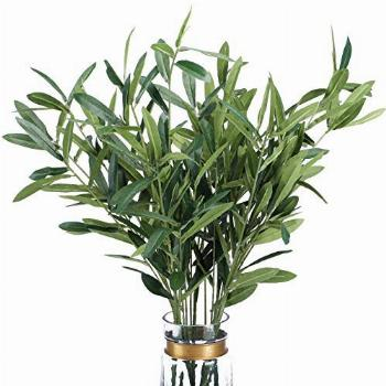 FUNARTY 5pcs Artificial Olive Leaves Long Stems 37