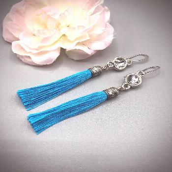 Holly Golightly - Breakfast at Tiffanys inspired tassel earrings  blue and silver