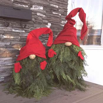 Make gnomes from fir branches yourself - Instructions for Christmas decoration -  Homemade gnomes m