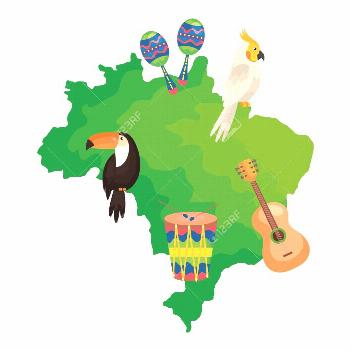 map of brazil with parrot and icons traditionals vector illustration design ,