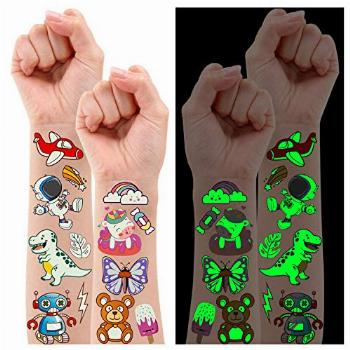Partywind 380 Styles (30 Sheets) Luminous Tattoos for Kids,