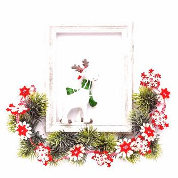 Photo frame, christmas decorations, fir tree branches on white background photo by Nataljusja on En