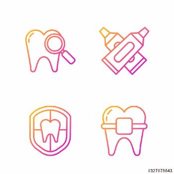 Set line Teeth with braces, Dental protection, Dental search and Crossed tube of toothpaste. Gradie