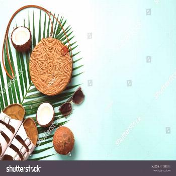 Stylish rattan bag, coconut, birkenstocks, palm branches, sunglasses on blue background. Banner. To