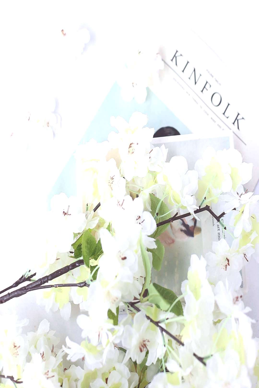 4 Bushes   40quot Tall White Silk Artificial Flowers Faux Cherry Blossoms Branches#artificial