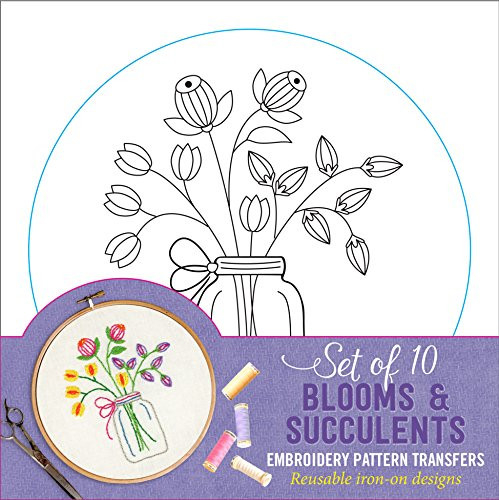 Blooms amp Succulents Embroidery Pattern Transfers (set of 10