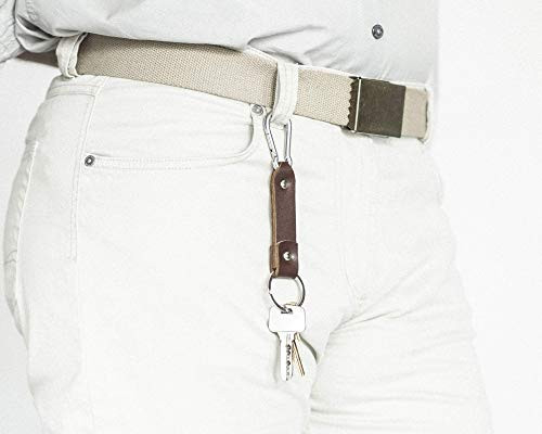 Brown leather key chain, stainless steel carabiner hook,