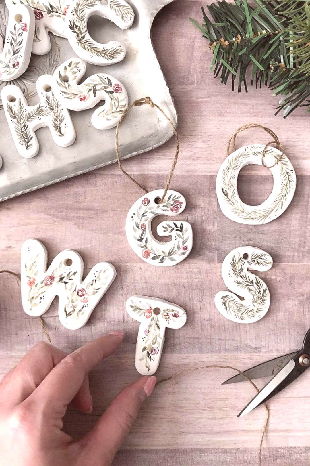 Hand painted clay initial letter ornament. Pine branches and flowers painted wit... - All for Chri