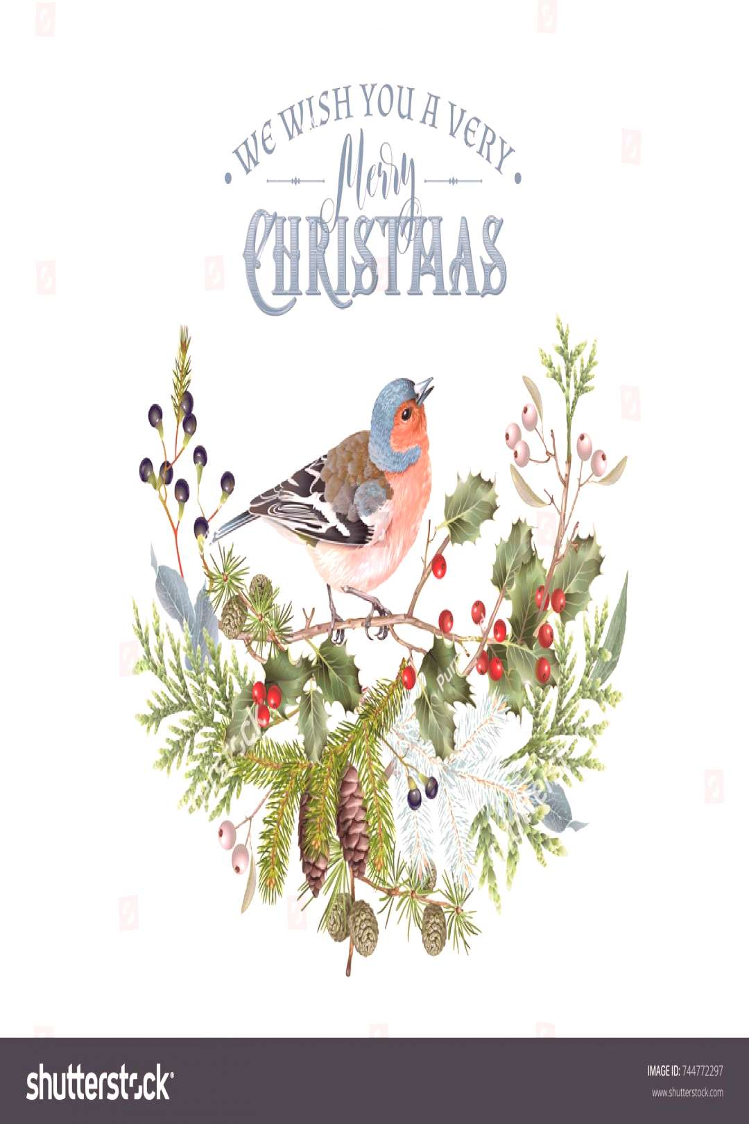 Vector vintage composition with winter forest branches and bird. Highly detailed winter design for